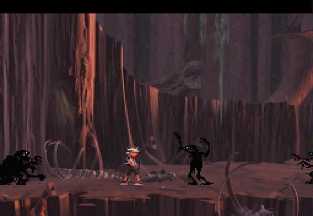 ennemis ombres dans le jeu vidéo die & retry Heart of darkness sur PS1